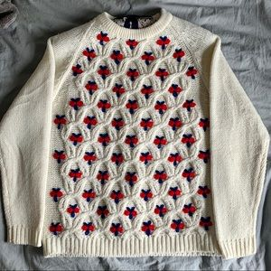 Vintage ivory chunky knit embroidered sweater